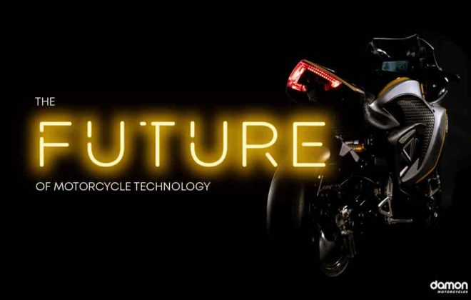 Futuristic image showing a black motorcycle with neon text lights on a side