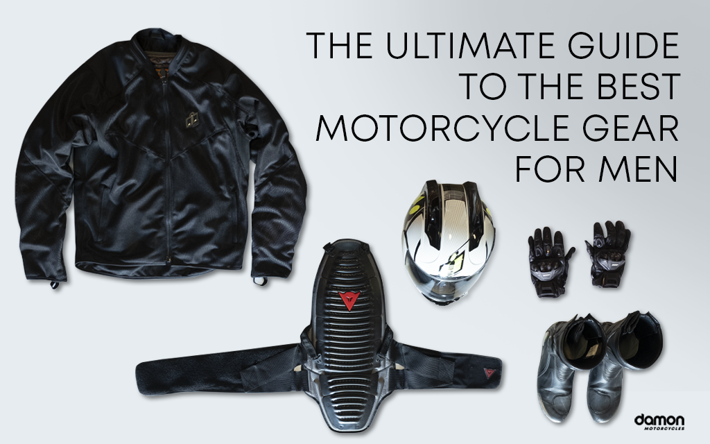 Jacker, helmet, gloves and other different imortant motorcycle gear for drivers