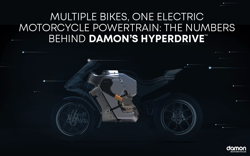 Render of an electric Damon HyperSport exposing its HyperDrive system