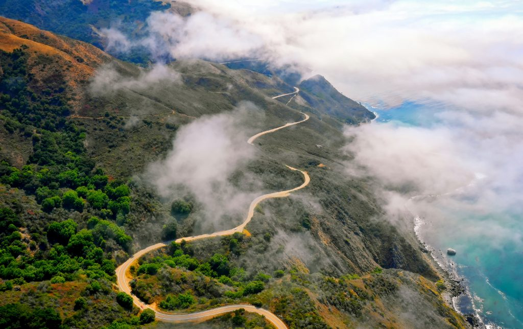 The Pacific Coast Highway from above in a cloudy day