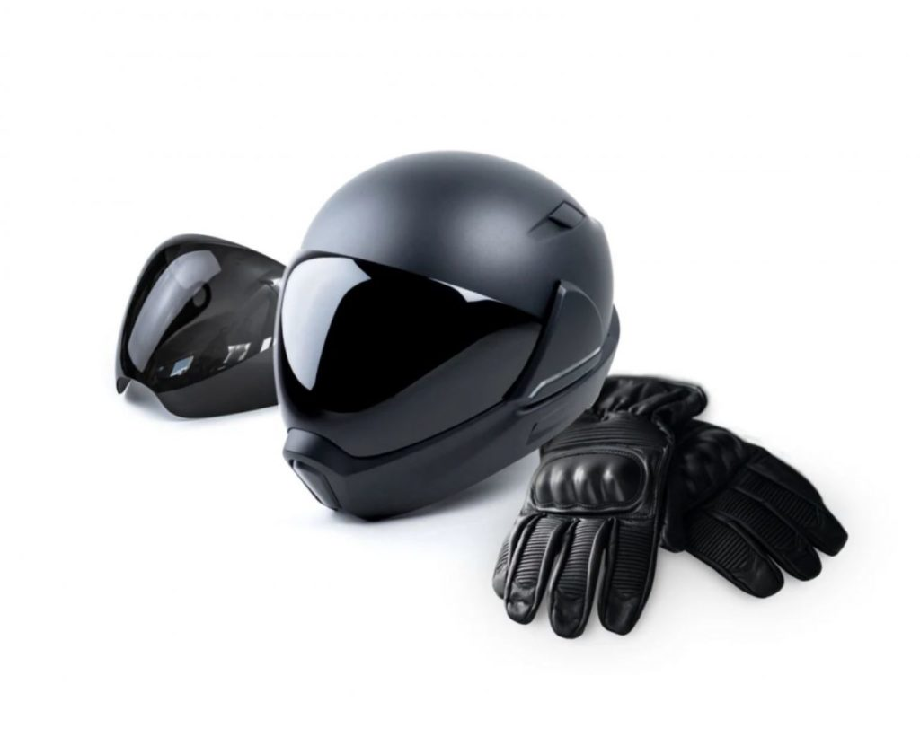 Motorcycle gear set of a 800600CrossHelmet X1 and gloves