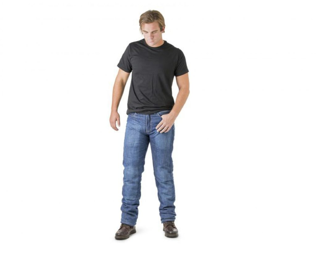 White blond man wearing Drayko Jeans