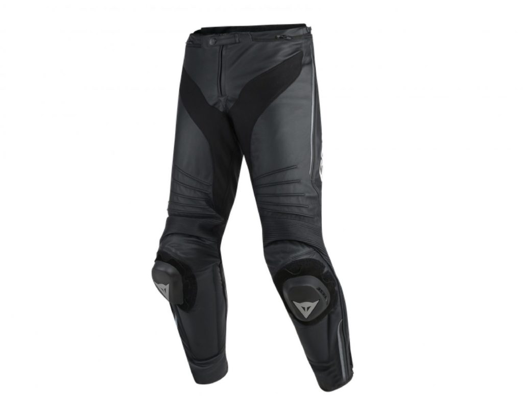 Product shot of the Dainese Misano Leather Pants for motorcycle drivers