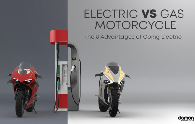 Comparison between a gas motorcycle at a gas station and a Damon HyperSport electric motorcycle being charged