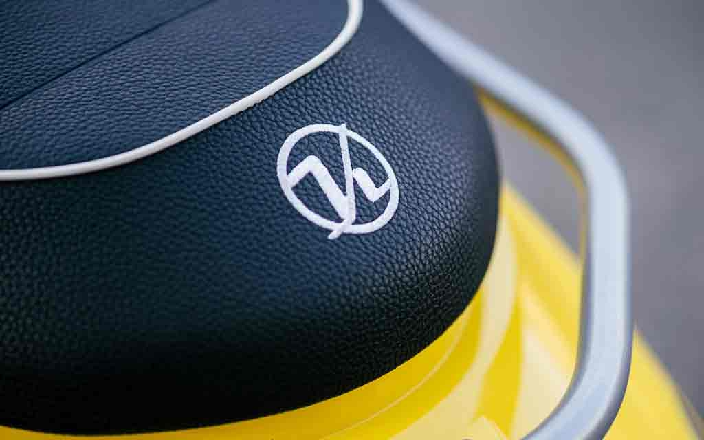 Close up of a yellow motorbike seat