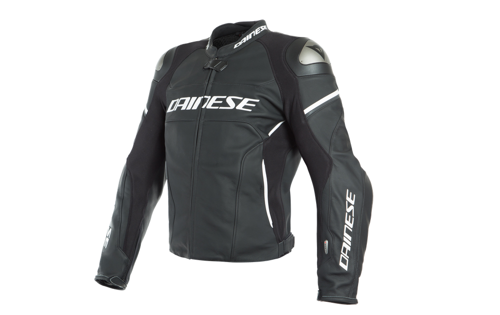 Black and white Dainese brand women motorcycle jacket to be use on track days
