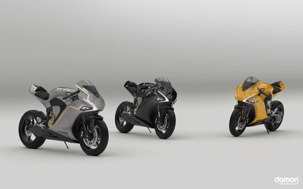 Renders of the Damon HyperSport SE, SX, and yellow HS with a gray background.