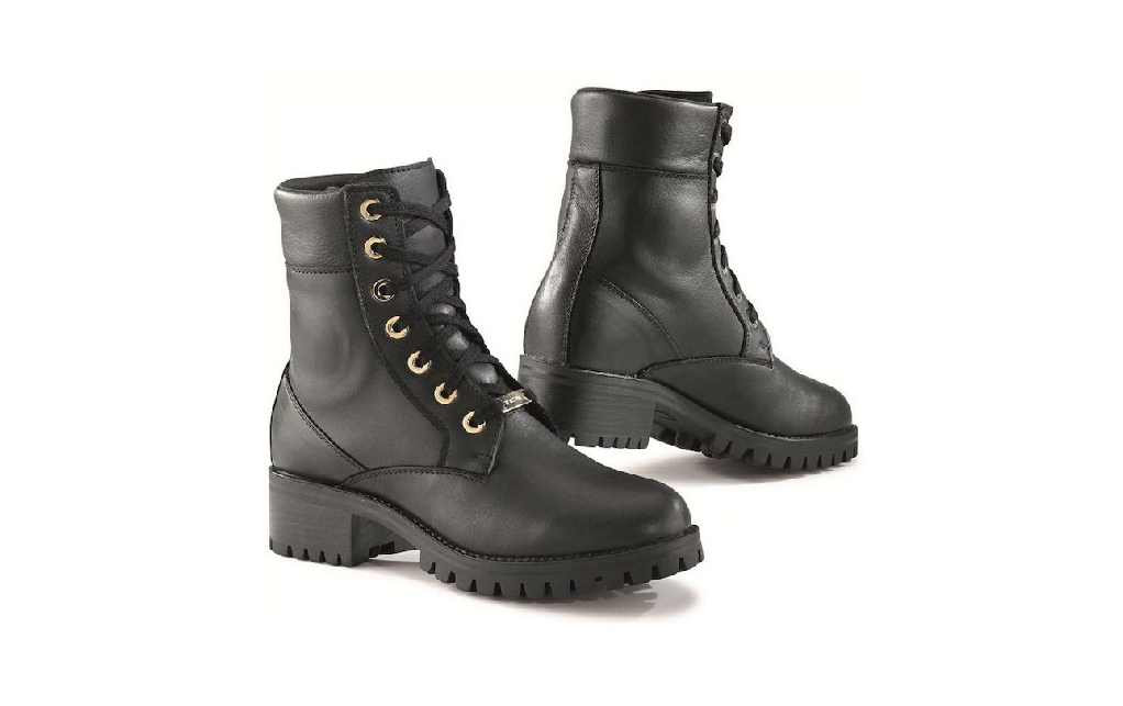 Pair of black heel boots designed specially for female motorcycle riders