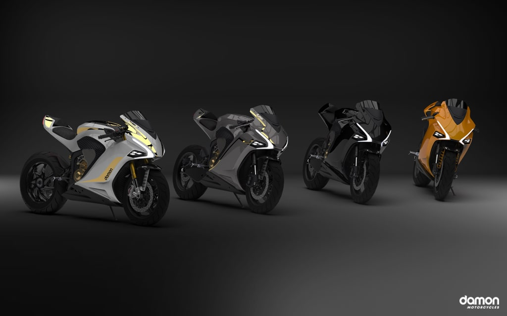 3D image render of models SX, SE, and HS of the Damon HyperSport motorcycles in 4 different colours