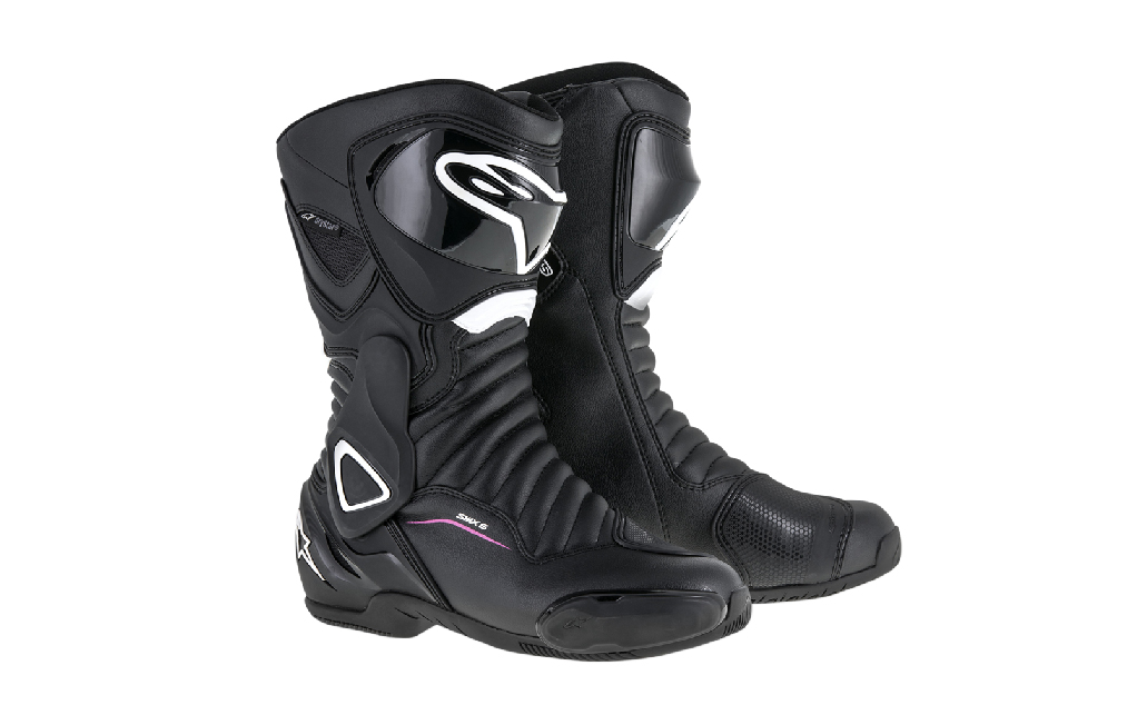 Black and white Alpinestars profesional motorcycle riding boots for female riders