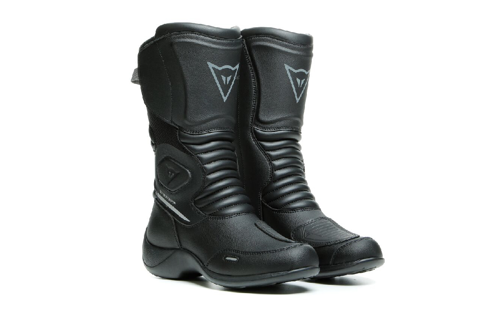 Pair of black Dainese Aurora professional motorcycle riding boots for women