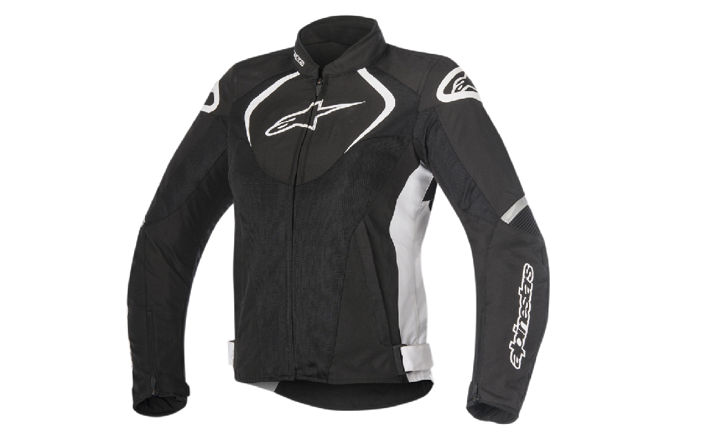 Black and white Alpine Stars brand waterproof jacket for female motorcycle riders