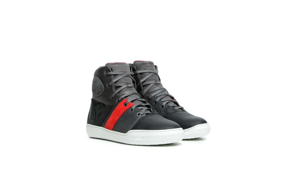 Pair of black and red Dianese York Air lady sneakers for female bike riders