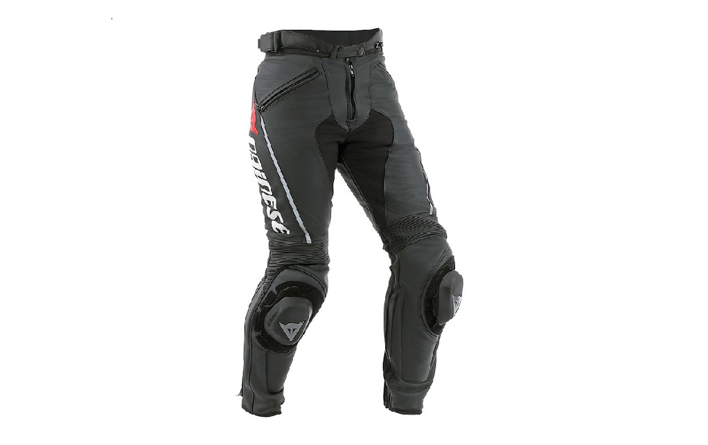 Black professional track day pants for female motorcycle riders