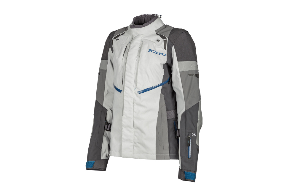 White and gray Klim altitude jacket for motorcycle women riders