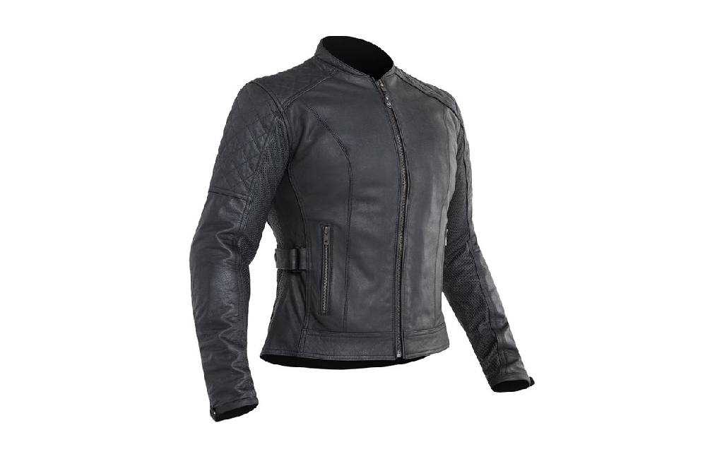 Cheap slim and simple black leather jacket for female motorcycle riders