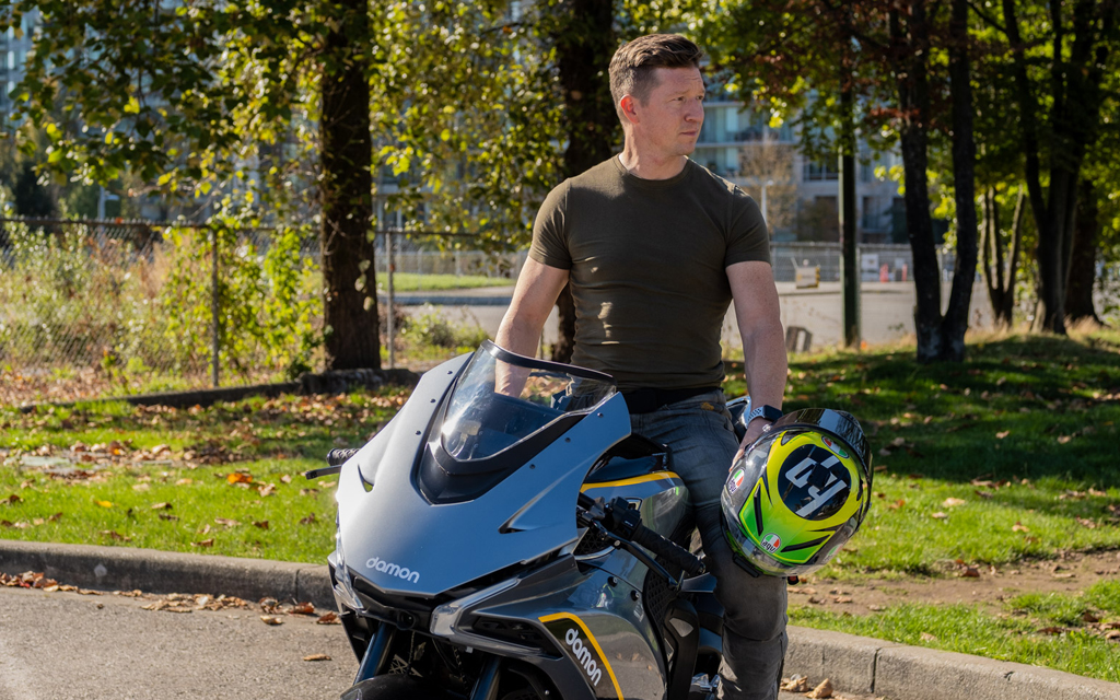 Jay Giraud, Co-Founder and CEO of Damon Motorcycles on a Damon HyperSport Premier in the city