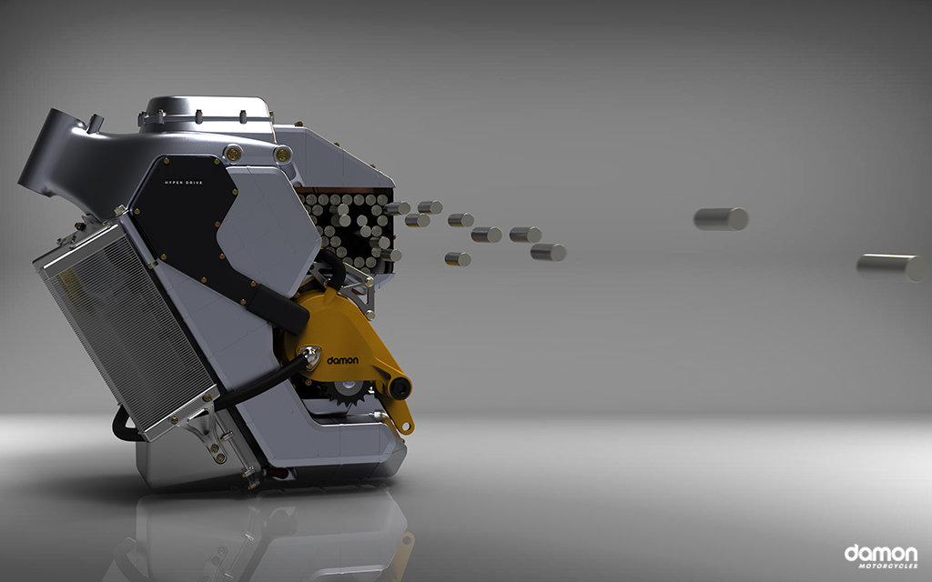 Damon HyperDrive with different battery cells floating through the air