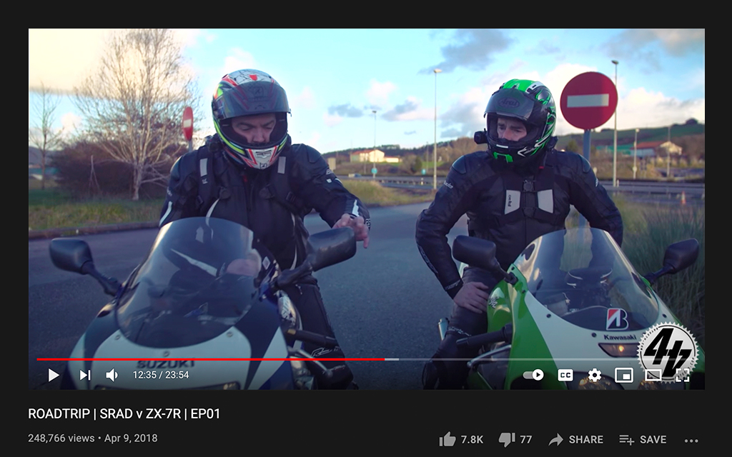 44Teeth Youtuber with another rider on their sport bikes