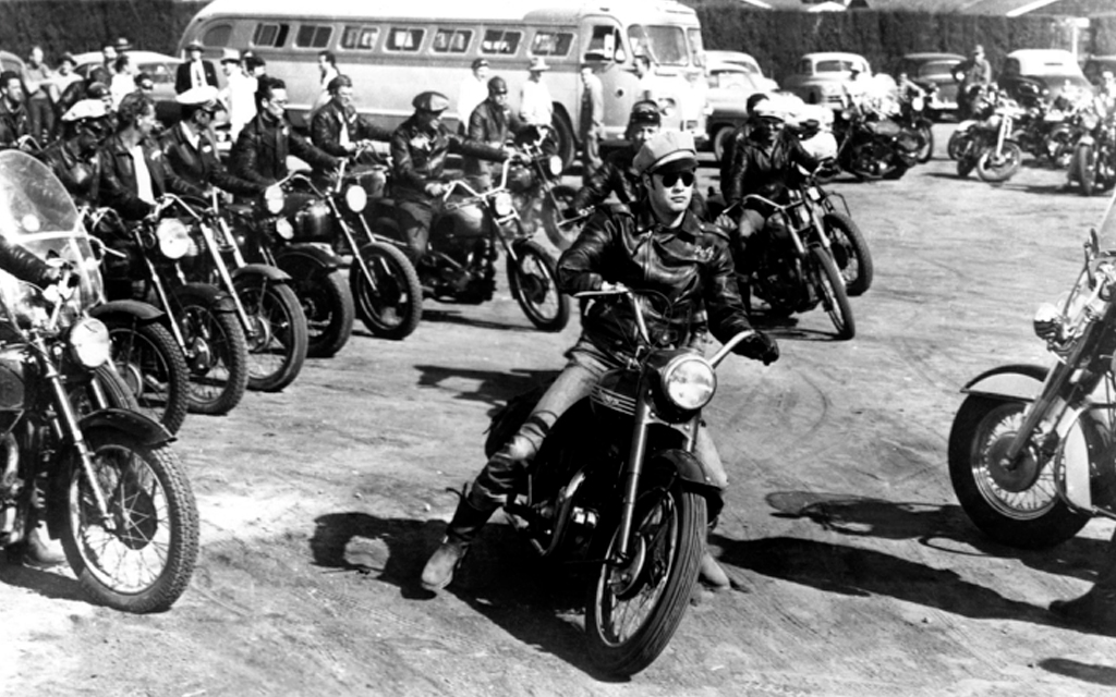Scene of the The Wild One where a group of riders are getting ready to start a roadtrip.