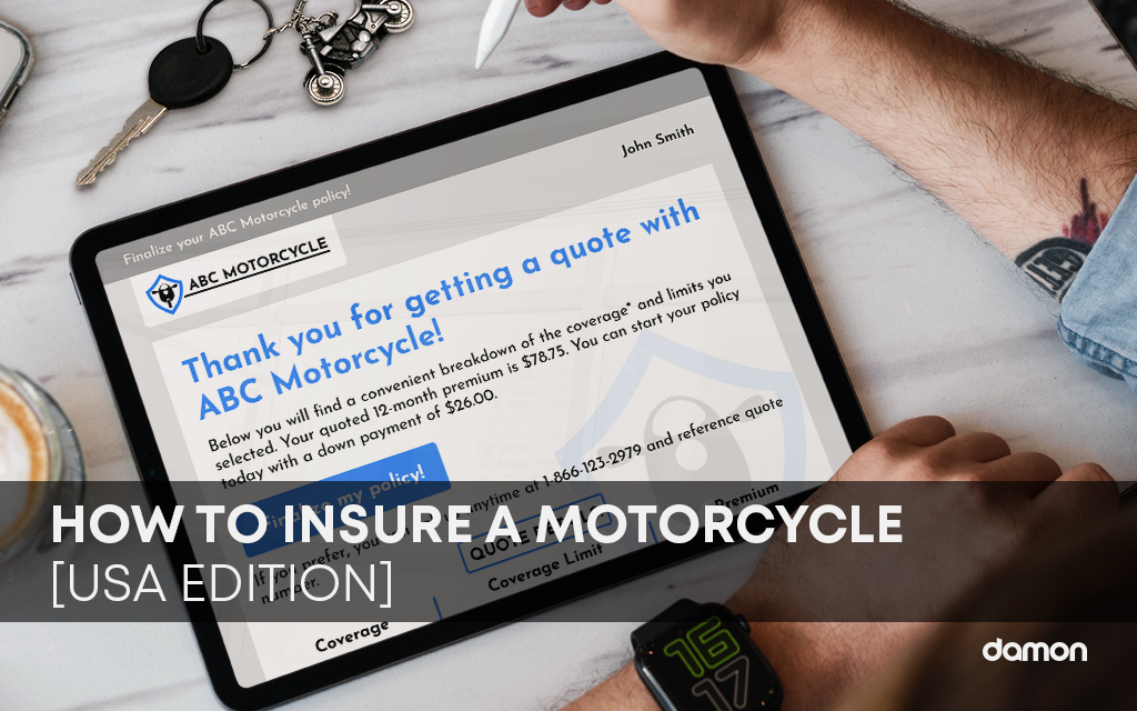 Close up of a person filling up a form about Motorcycle Insurance on a tablet