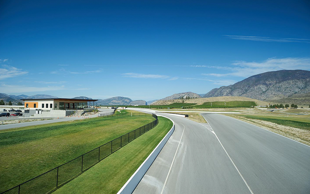 Area 27 Motorsport club road under a blue sky of a summer day in Canada