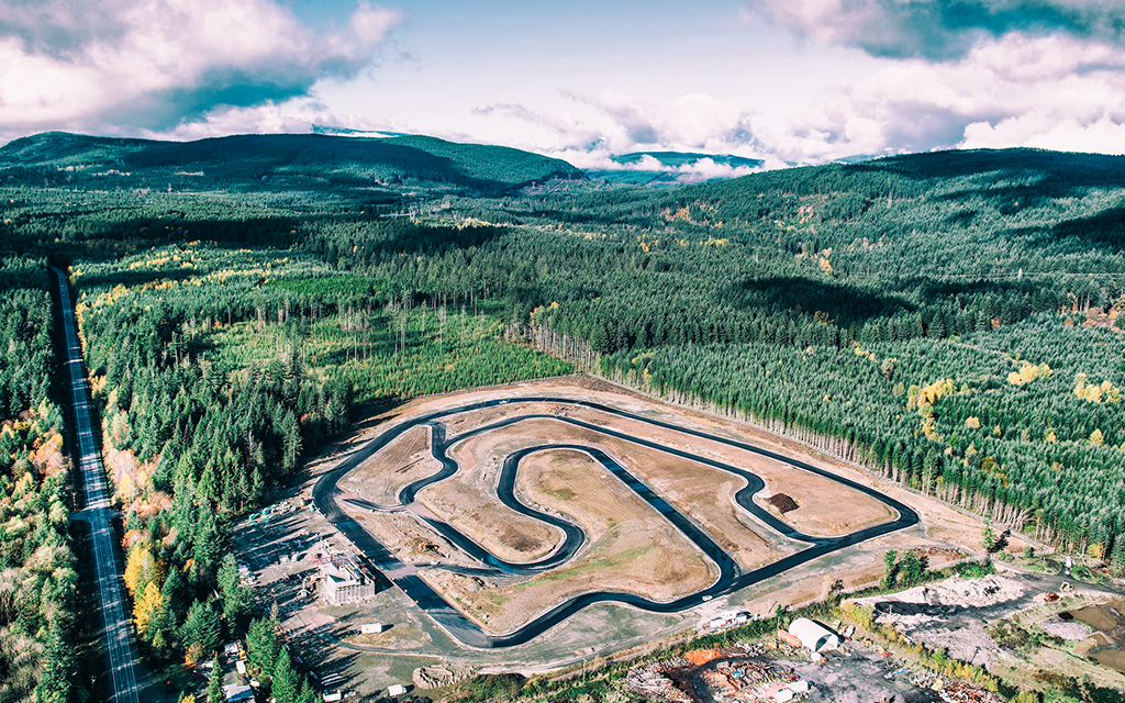 Motorcycle track day circuit built in the middle of the forest in Vancouver Island