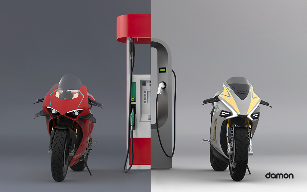 Render image comparing  a gas motorcycle at a gas stating with an electric motorcycle at a charging stating