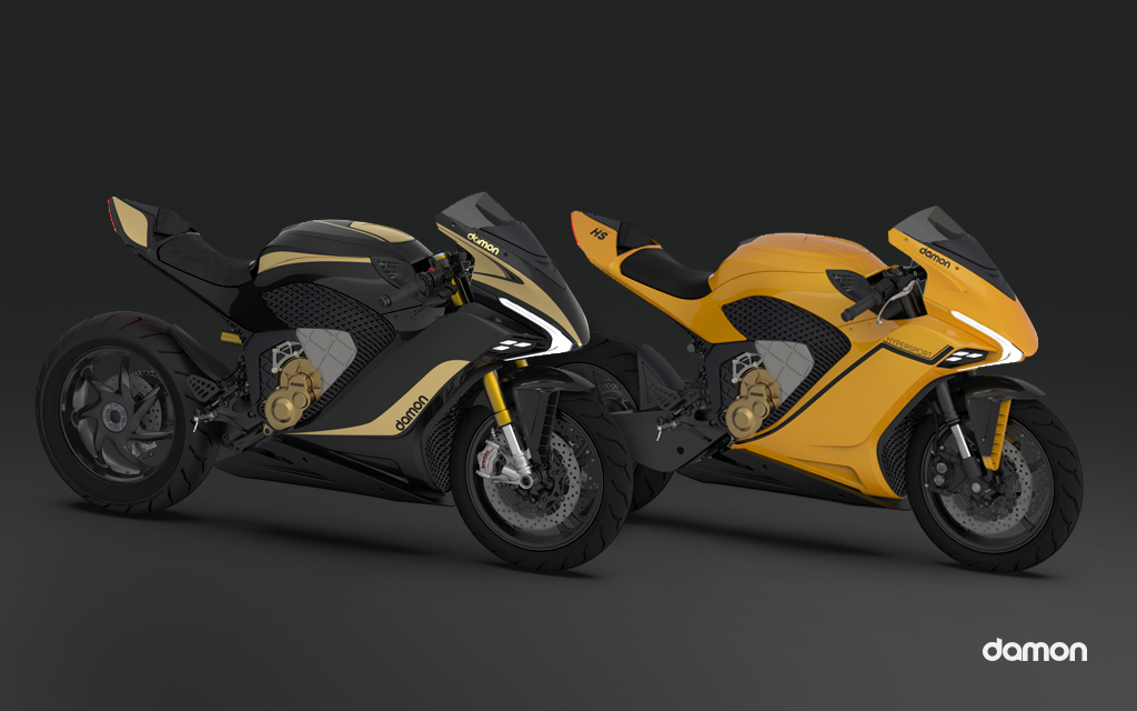 Render of two HyperSport Damon's electric motorcycles in a black background